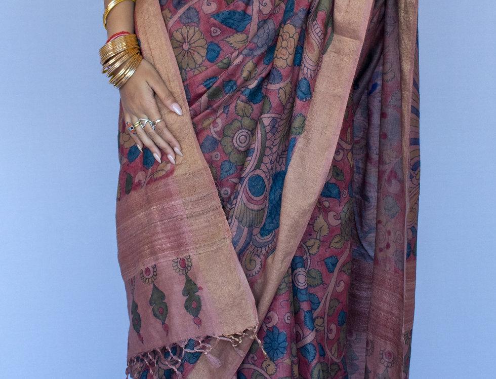 Kalamkari Tussar Silk Saree