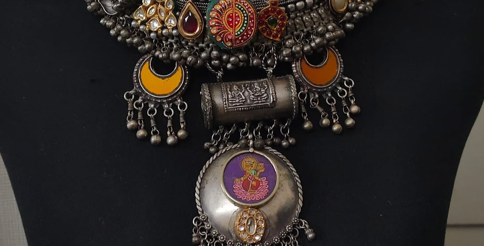 DEVI Brass & German Silver Choker with Kundans