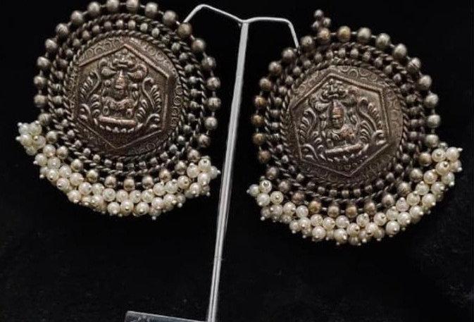 German Silver & Pearls Saraswati Earrings