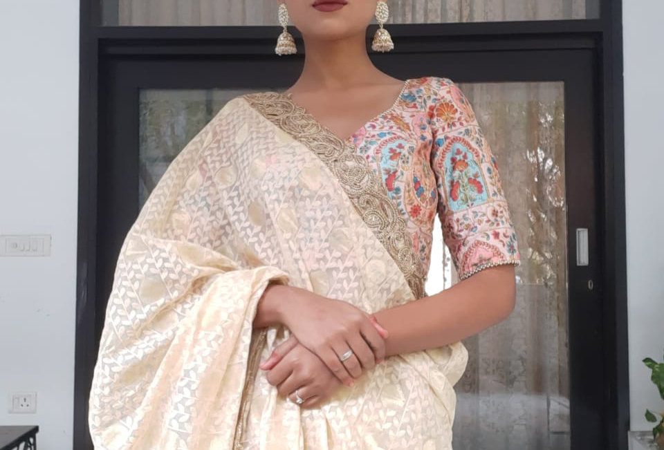 Banarasi Jhali Cotton Silk Saree with Tussar Silk Blouse