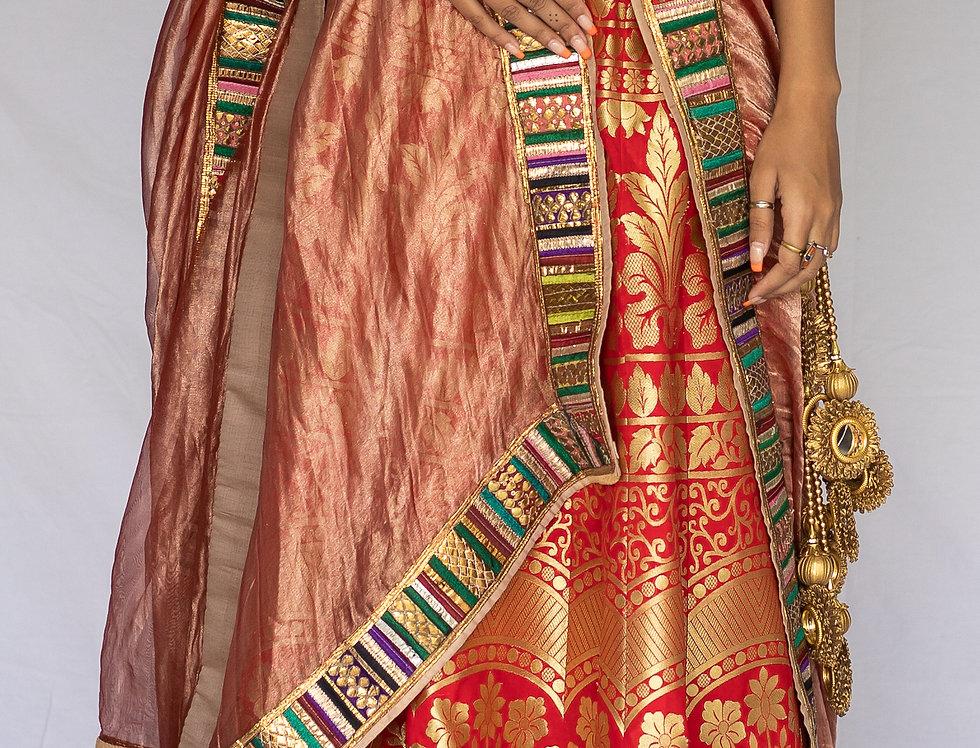 Khadi Banarasi Silk Lehenga Set (Red & Green Combo)