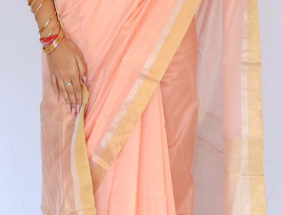 Taluk - Chanderi Peach Cotton/Silk Saree