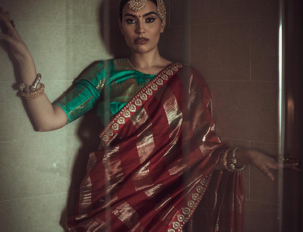 Tissue Silk Gold Zari Saree (Red & Green Combo)