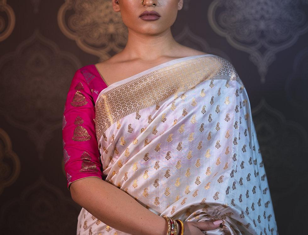 Banarasi Silk Saree paired with Banarasi Pure Silk Blouse (Pink)