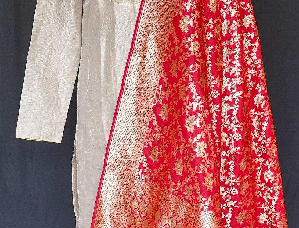 Banarasi Katan Silk Duppatta (Red)