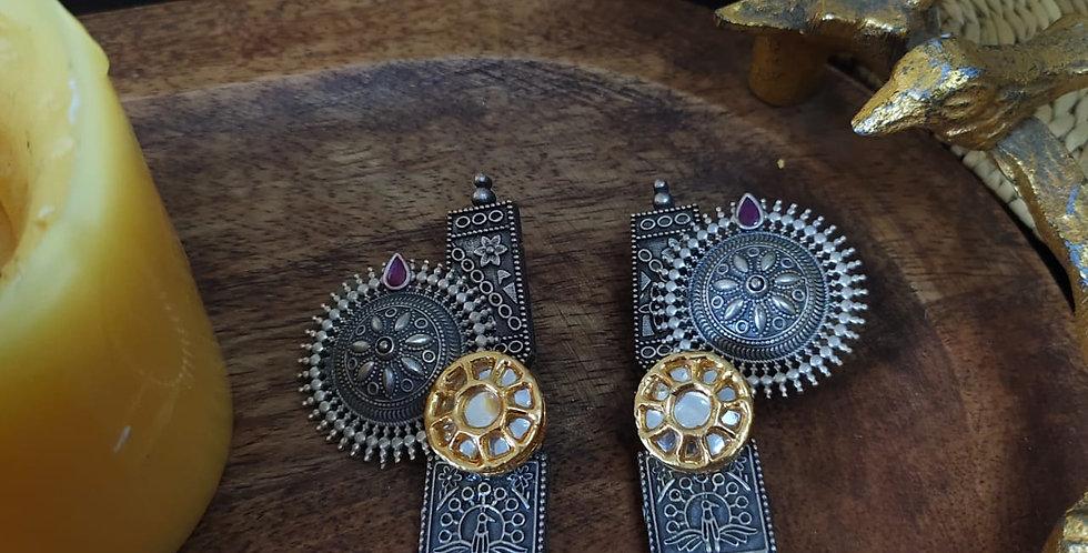Brass/German Silver Earrings with Kundan