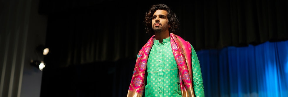 Pure Banarasi Silk Cotton Kurta paired with Katan Banarasi duppatta