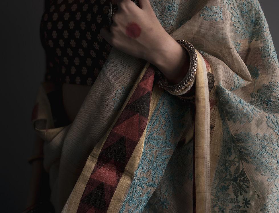 Chikankari Cotton  Saree (Off white & baby blue) Gold Zari border