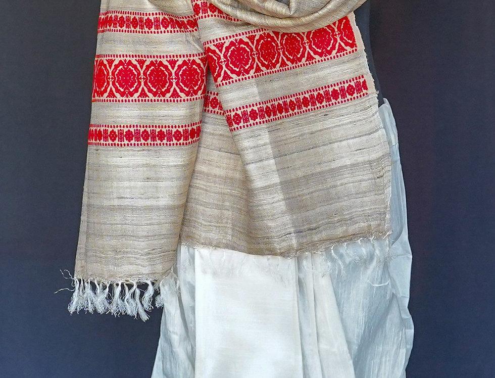 Gicha Tussar Silk Duppatta (Red)