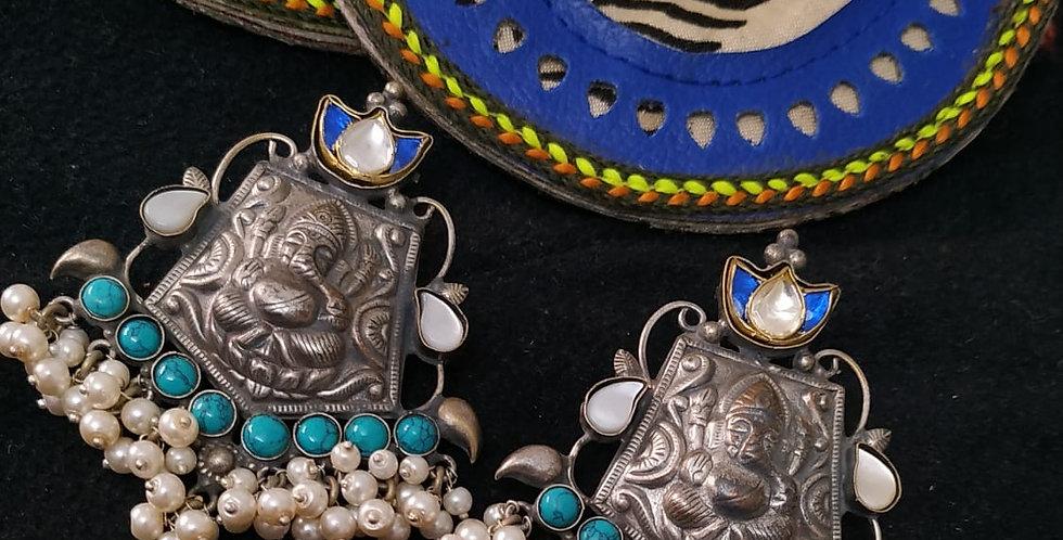 German Silver, Brass, Pearls & Stone Ganpati Earrings