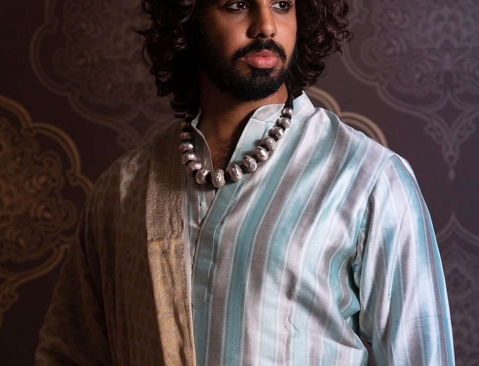 Eri Pure Silk Kurta Paired with White Dhotti