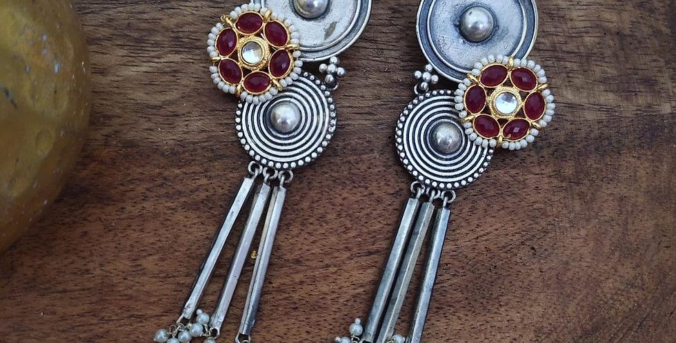 German Silver/Brass/Kundan Red Earring