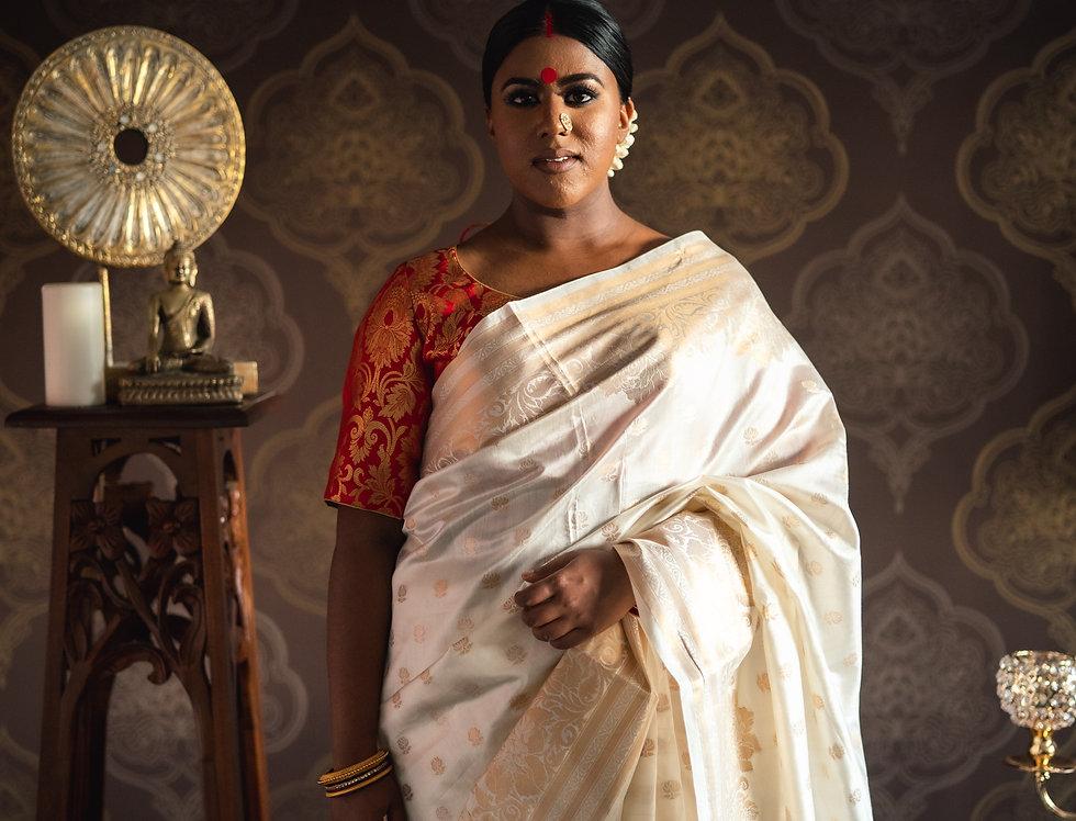 Banarasi Silk Saree paired with Banarasi Pure Silk Blouse (Red))