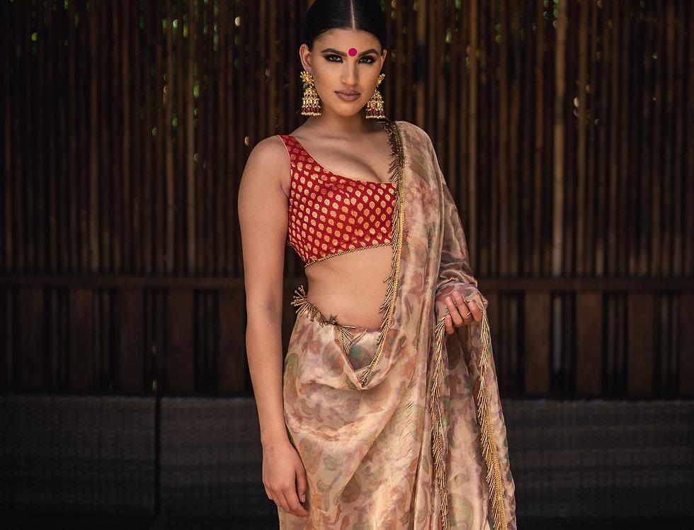 Banarasi Tissue Silk Floral Sequins Saree with Banarasi Blouse
