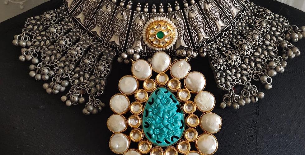 Brass & German Silver Choker with Kundans & Pearls