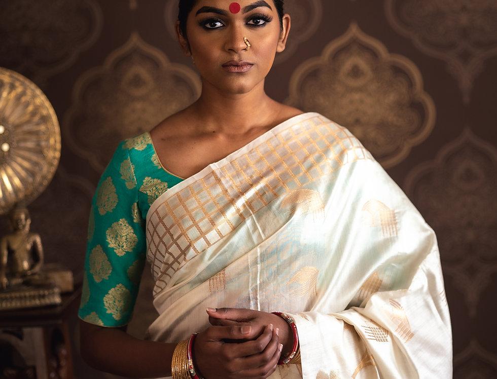 Banarasi Silk Saree paired with Banarasi Pure Silk Blouse (Green)