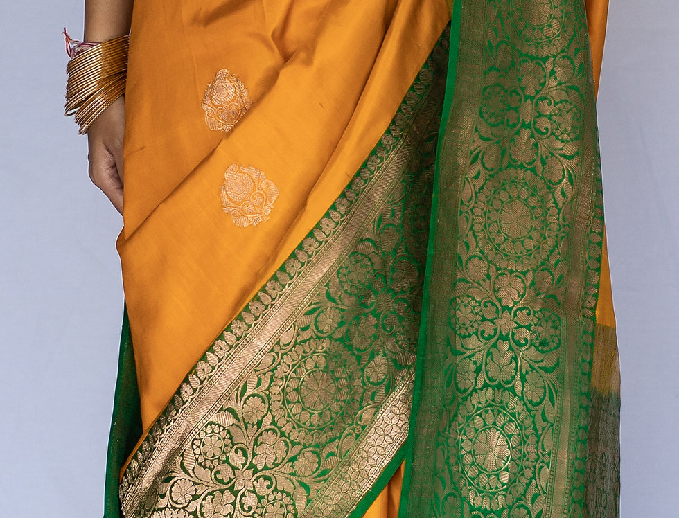 Pure Banarasi Silk Saree (Mustard & Green Combo)