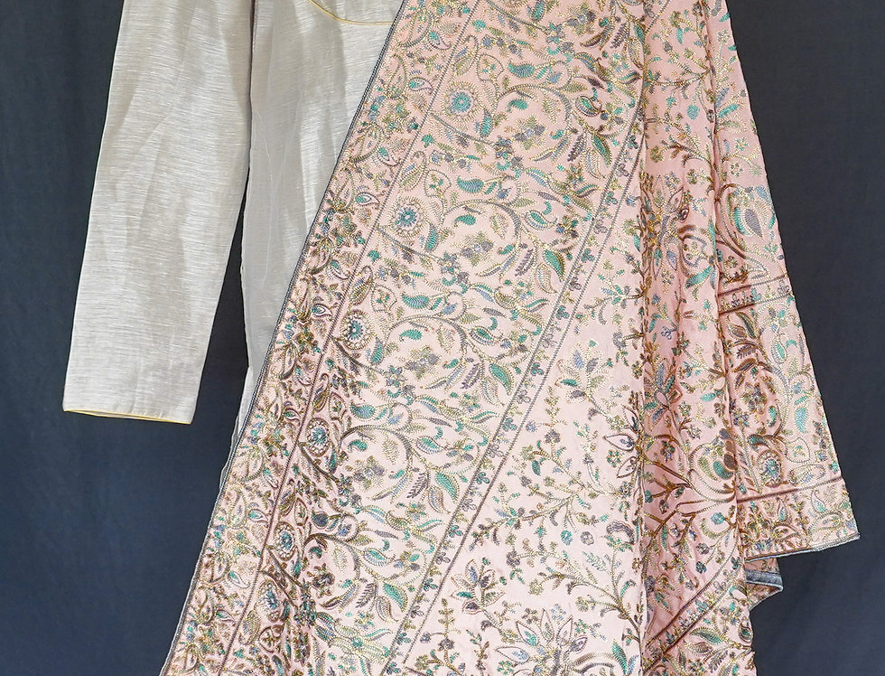 Kashmiri  Embroidery Duppatta (Peach)