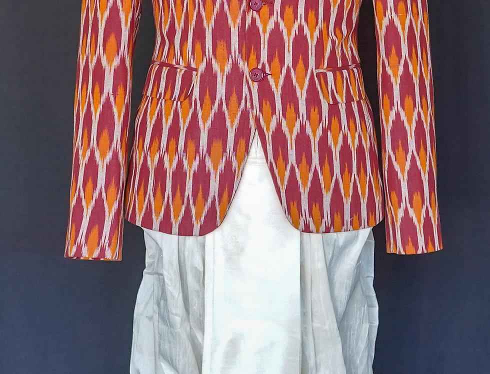 Ikkat Sports Jacket (Maroon)