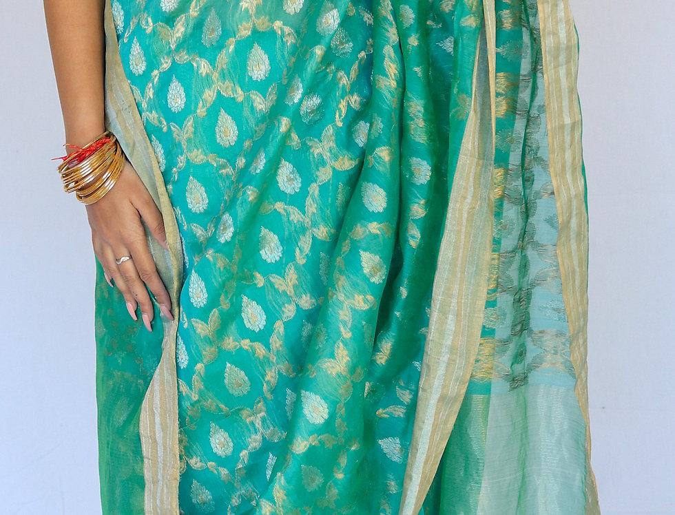 Taluk - Chanderi Blue Cotton/Silk with Gold & Silver Zari