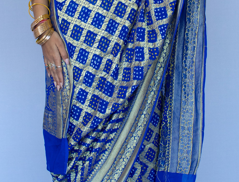 Pure Georgette Bhandej Saree