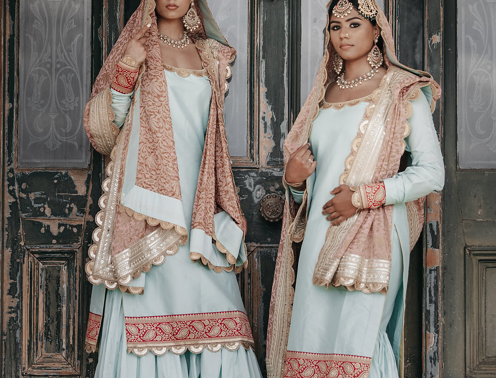 Taffeta Silk Sharara Set with Georgette Duppatta
