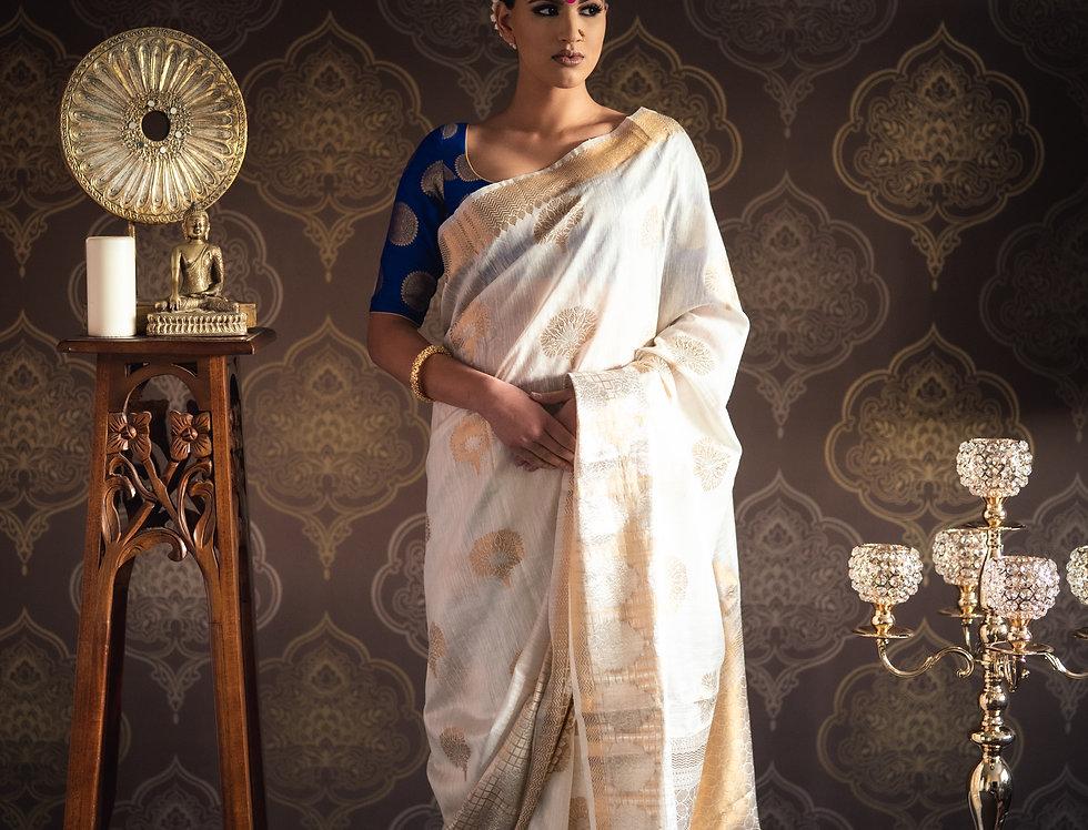 Banarasi Silk Saree paired with Banarasi Pure Silk Blouse (Blue)