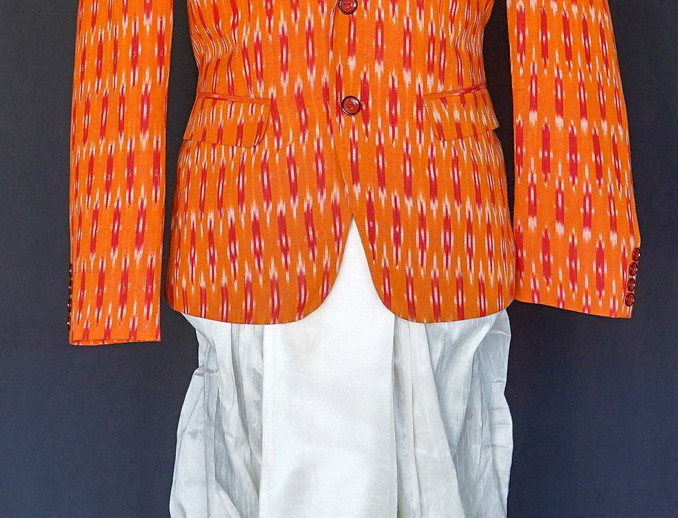 Ikkat Sports Jacket (Orange)