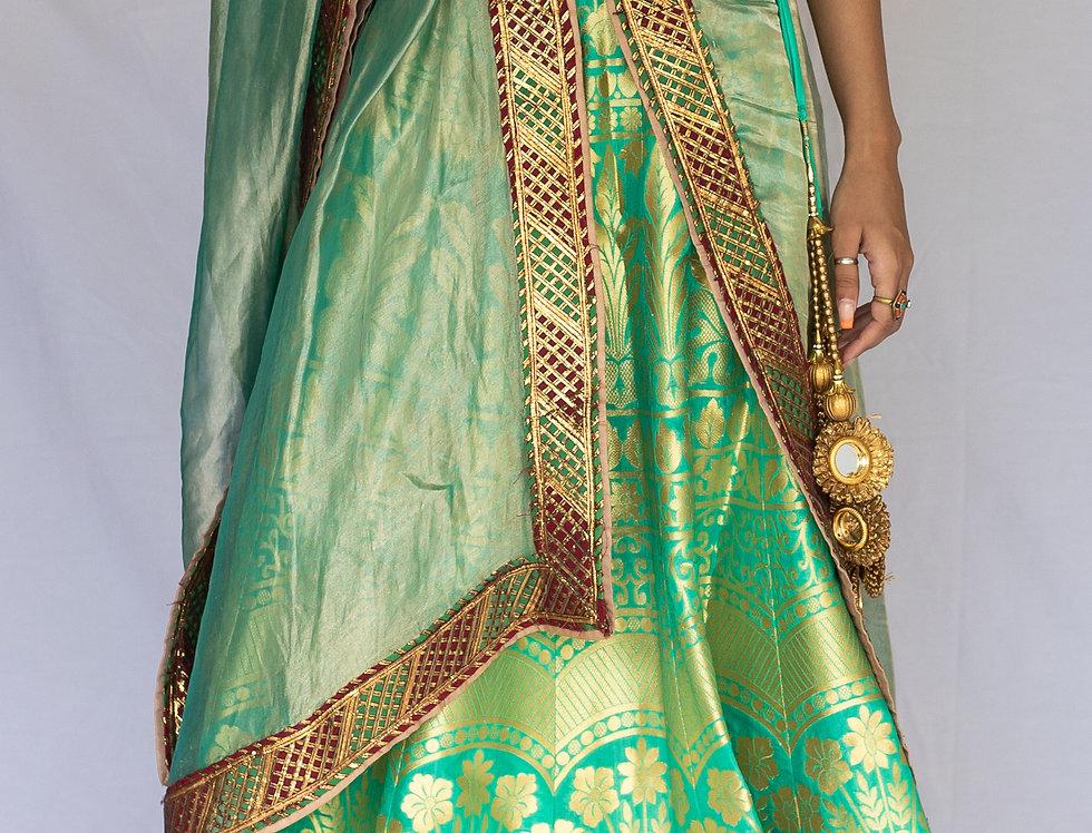 Khadi Banarasi Silk Lehenga Set (Green & Red Combo)