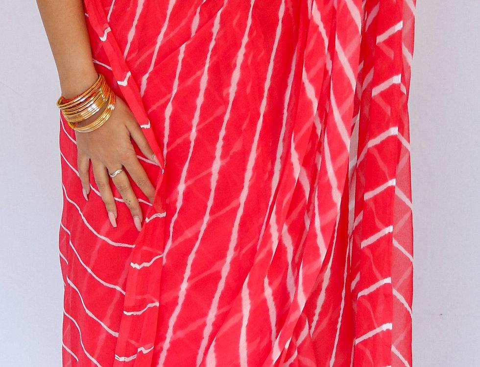 Taluk -Leheriya Pink Chiffon Saree
