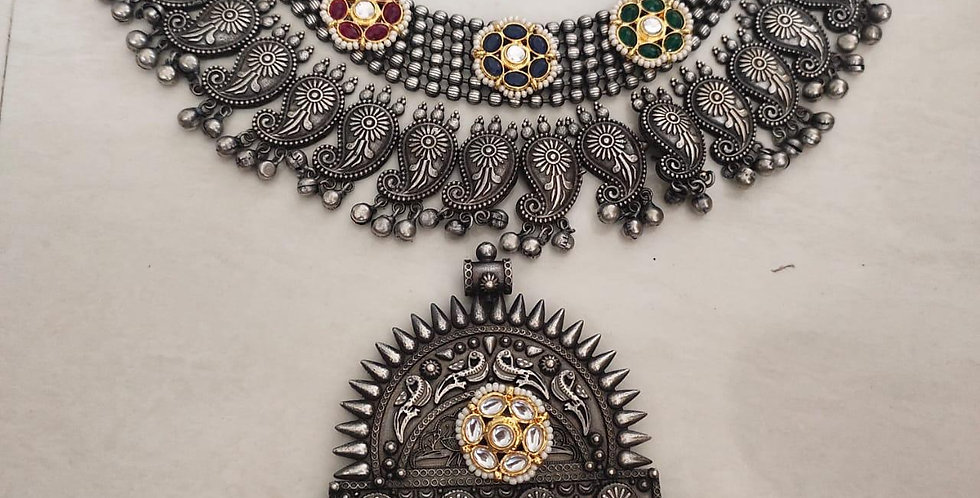 Brass & German Silver Choker with Kundans