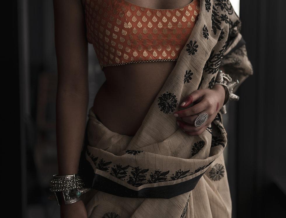 Chikankari Cotton  Saree (Off white & Black)