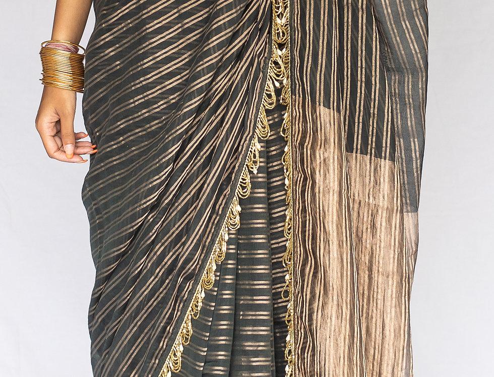 Tissue Zari Silk Saree with Sequins borders (Black & Antique Gold)
