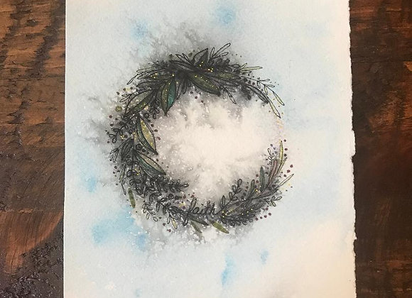 """Wreath of Faith"" Original ink and watercolor"