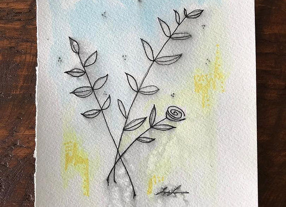 """""""Little Bud"""" Ink and watercolor"""