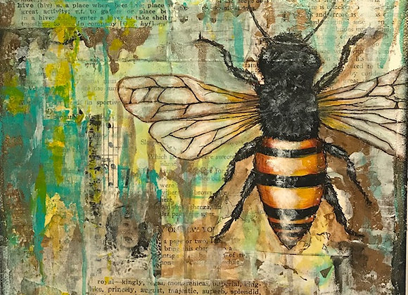"""Royal Hive"" 8""x8"" Bee Print"