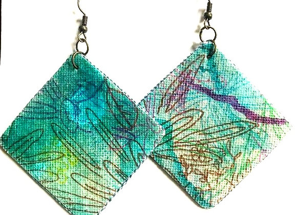 """Peaceful"" Art Canvas Earrings"