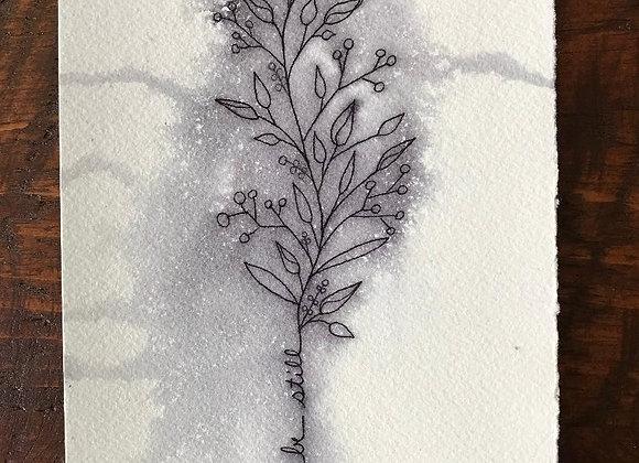 """Peace Be Still"" branch drawing  5''x7' original"