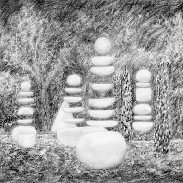 """""""La méditation"""", dessin de la série """"Le jardin des_souffles"""""""