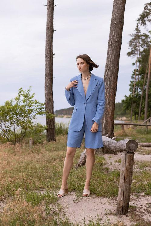 Костюм Cambridgе Blue Linen с шортами бермудами