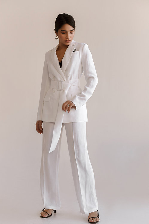Костюм White chic. Двубортный жакет и широкие брюки