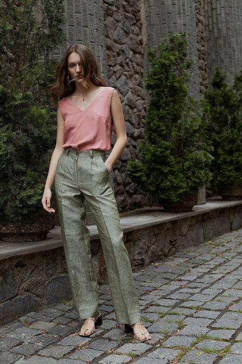 Verese Green Linen брюки с высокой посадкой