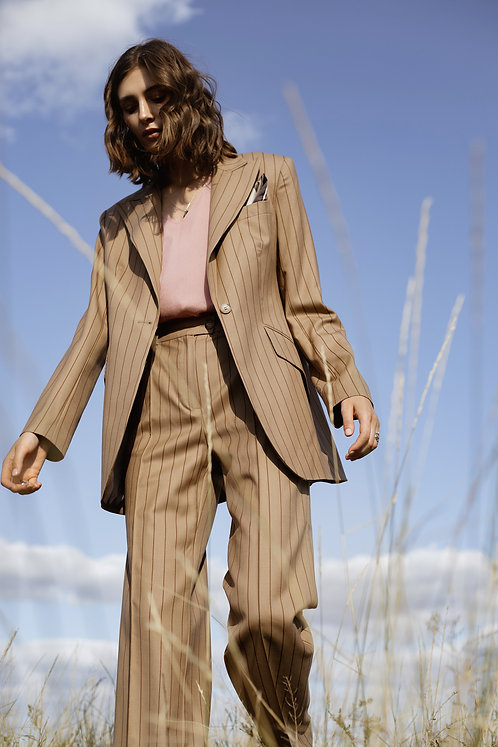 Костюм с широкими брюками Cambridge -Varese Beige Stripe
