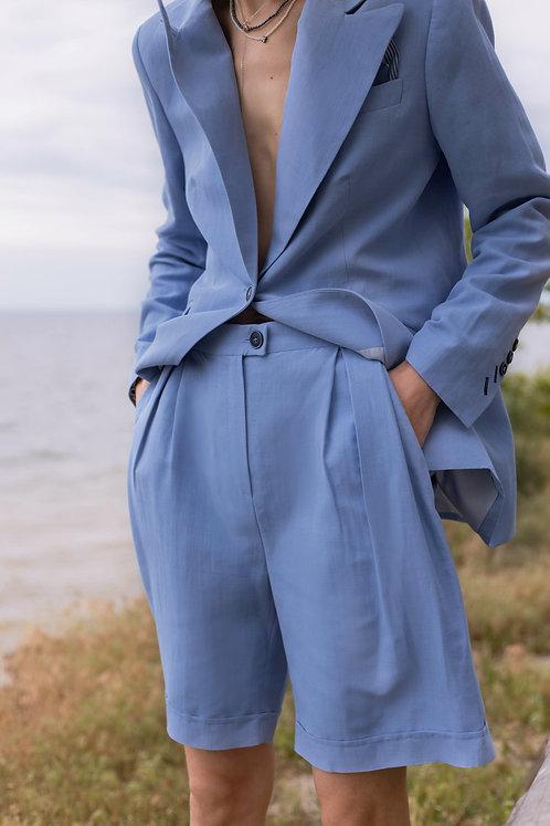 Шорты Shorts Blue Linen выше колен