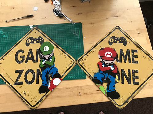 Game Zone Metal Signs
