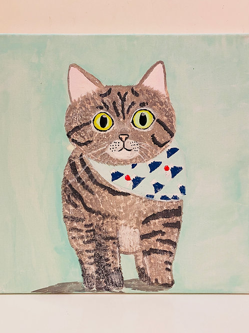 Hand Paint Cat with Mountain Fuji  Bandana