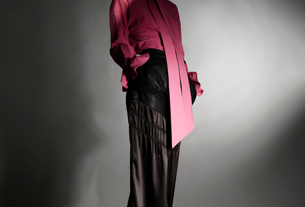 Alexis - 3D Pocket Faux Leather and Shibori Trousers