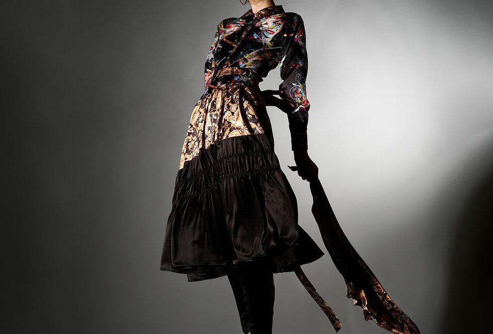 Shuhan - Mix Print Belted Shibori Shirtdress