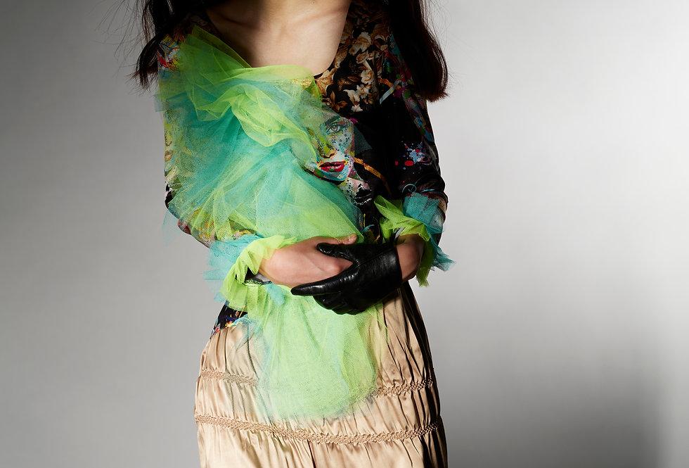 Amanda - Mix Art Print Two Tone Tulle Shibori Dress
