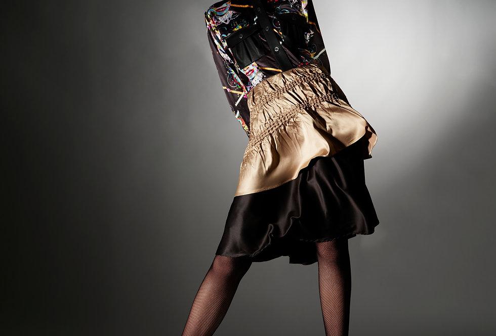 Natalia - Print Satin and Faux Leather Shibori Shirtdress